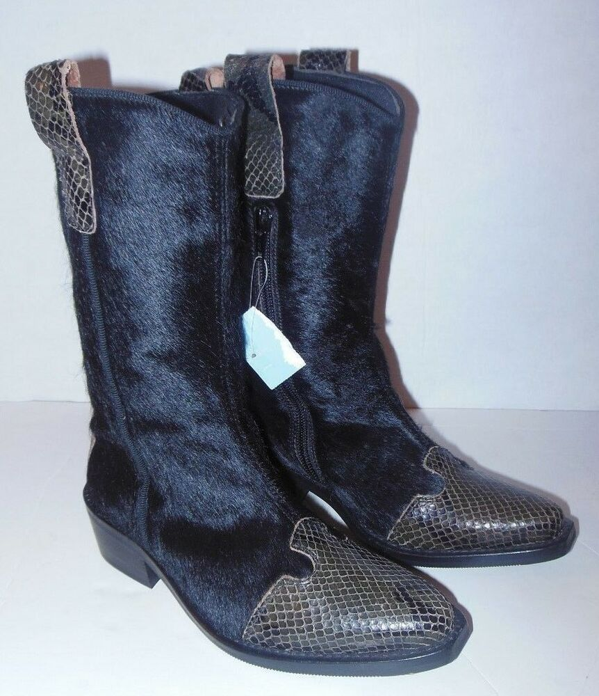 WOMENS PRIALPAS GOMMA NORDSTROM EUROPEAN COLLECTION PONY HAIR SNAKESKIN  BOOTS   eBay 044ed3b9fd8