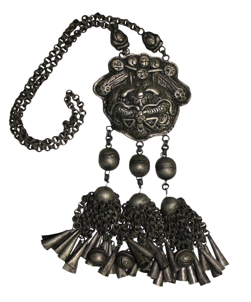 Chinese Tribe Miao Authentic Antique Silver Necklace 02 Ebay