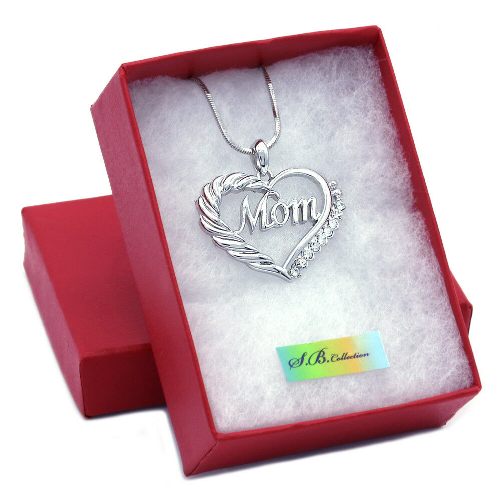 heart mom necklace love pendant women mother 39 s day fashion. Black Bedroom Furniture Sets. Home Design Ideas