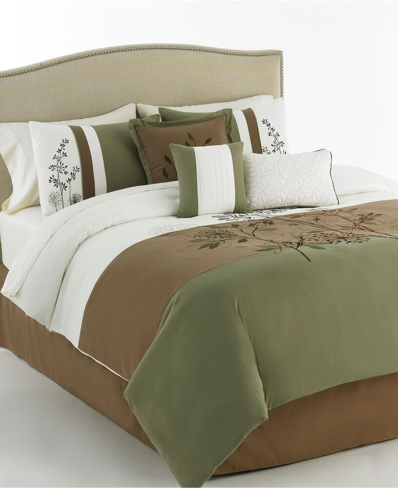 Gabrielle 5 piece embroidered queen comforter set green - Green and brown comforter ...