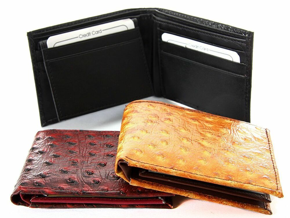 Leather Bifold 7 Credit Card 1 Id Window Ostrich Embossed
