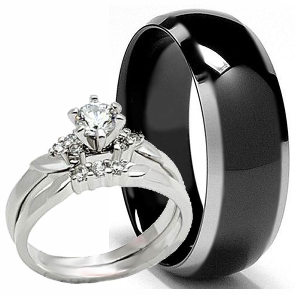 Black TITANIUM Mens Band and 2 pc Womens Engagement ...