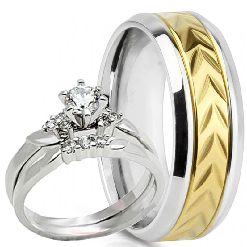 Stainless Steel Mens Wedding Band Ring 8mm: His Hers Mens Stainless Steel 8MM &Band 2 Pc Womens
