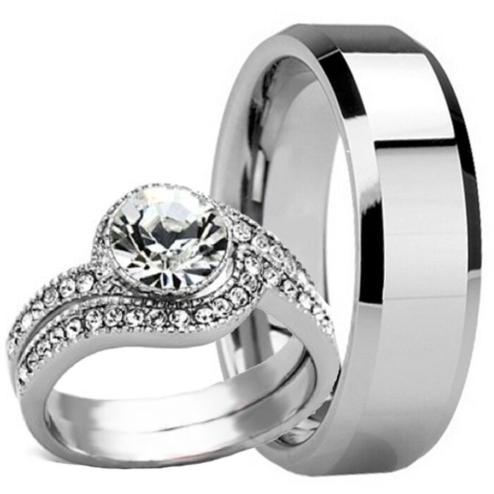 3 pc his hers mens tungsten 8mm band and womens engagement
