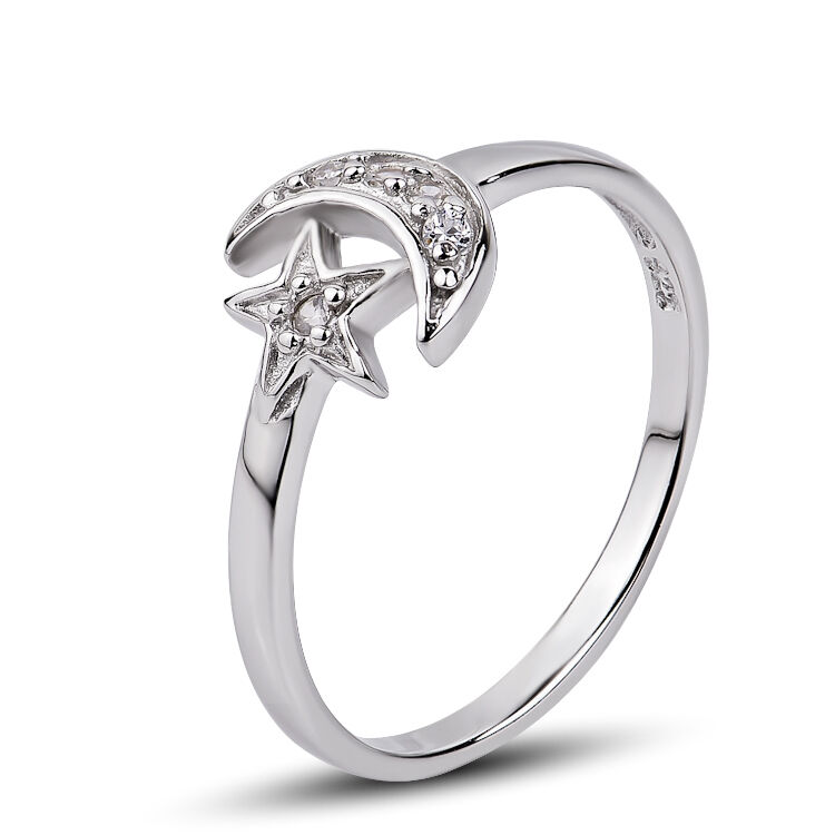 Moon And Star Ring Silver