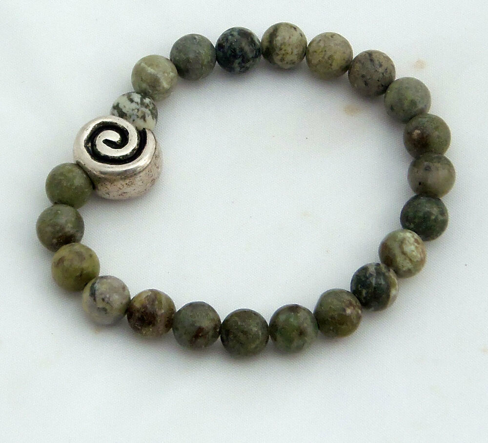 Connemara Marble Bracelet With A Celtic Spiral Bead Made