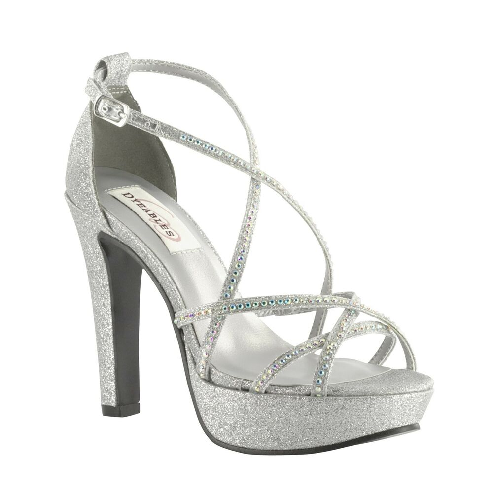 Bridal Shoes Silver: Taylor Dyeable White Or Silver Rhinestone Prom Bridal High