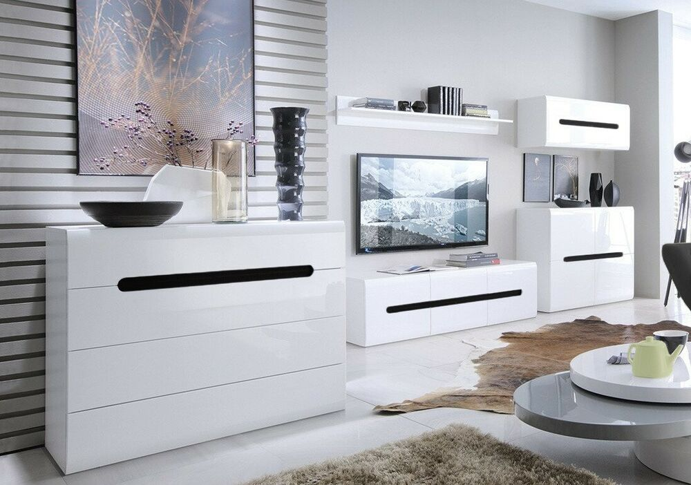 Azteca New Living Room Furniture Set Cabinets Tv Unit White High Gloss Ebay