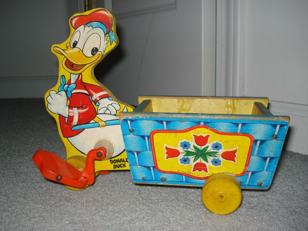 1940's DONALD DUCK WITH BLUE BASKET FISHER PRICE PULL TOY | eBay