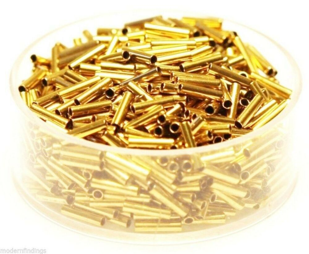 Mm brass quot tube spacer beads hole pkg of
