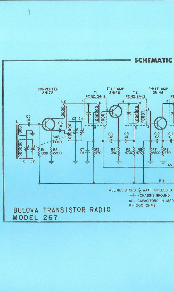 Nice COPY Bulova 267 AM Transistor Radio Schematic