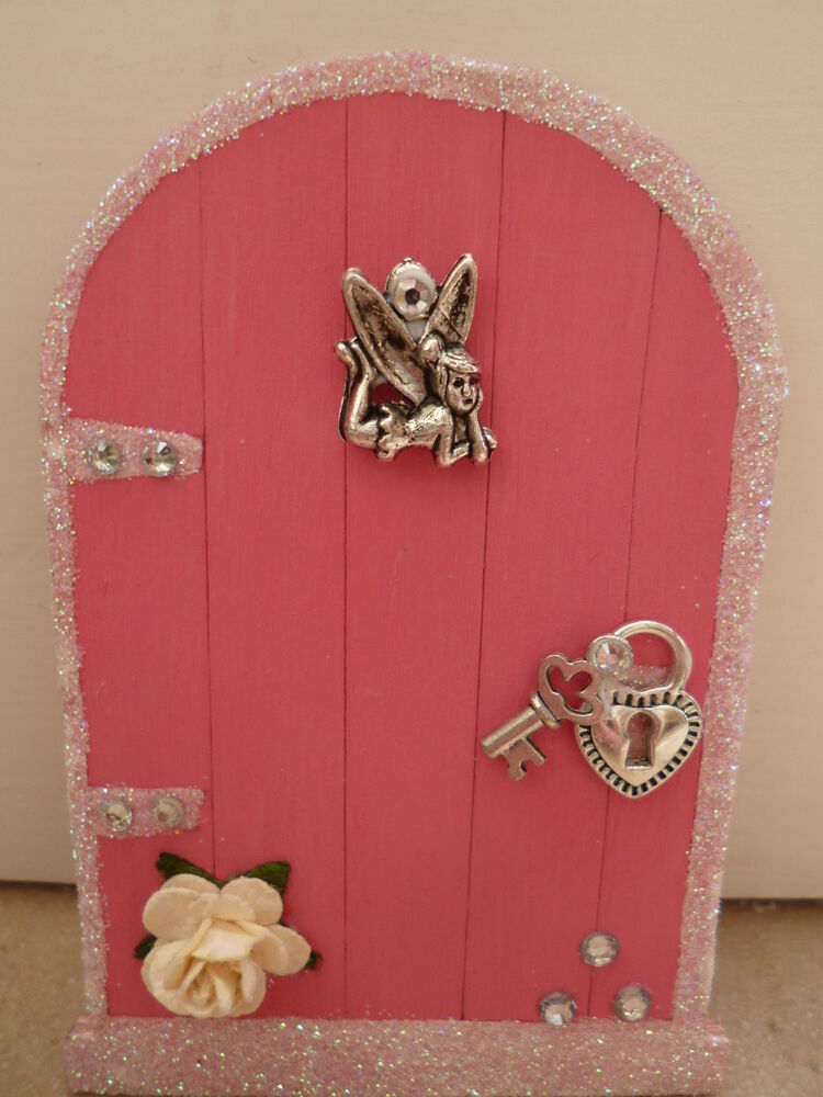 Magical pink glitter edge fairy door with tinkerbell hand for Tinkerbell fairy door