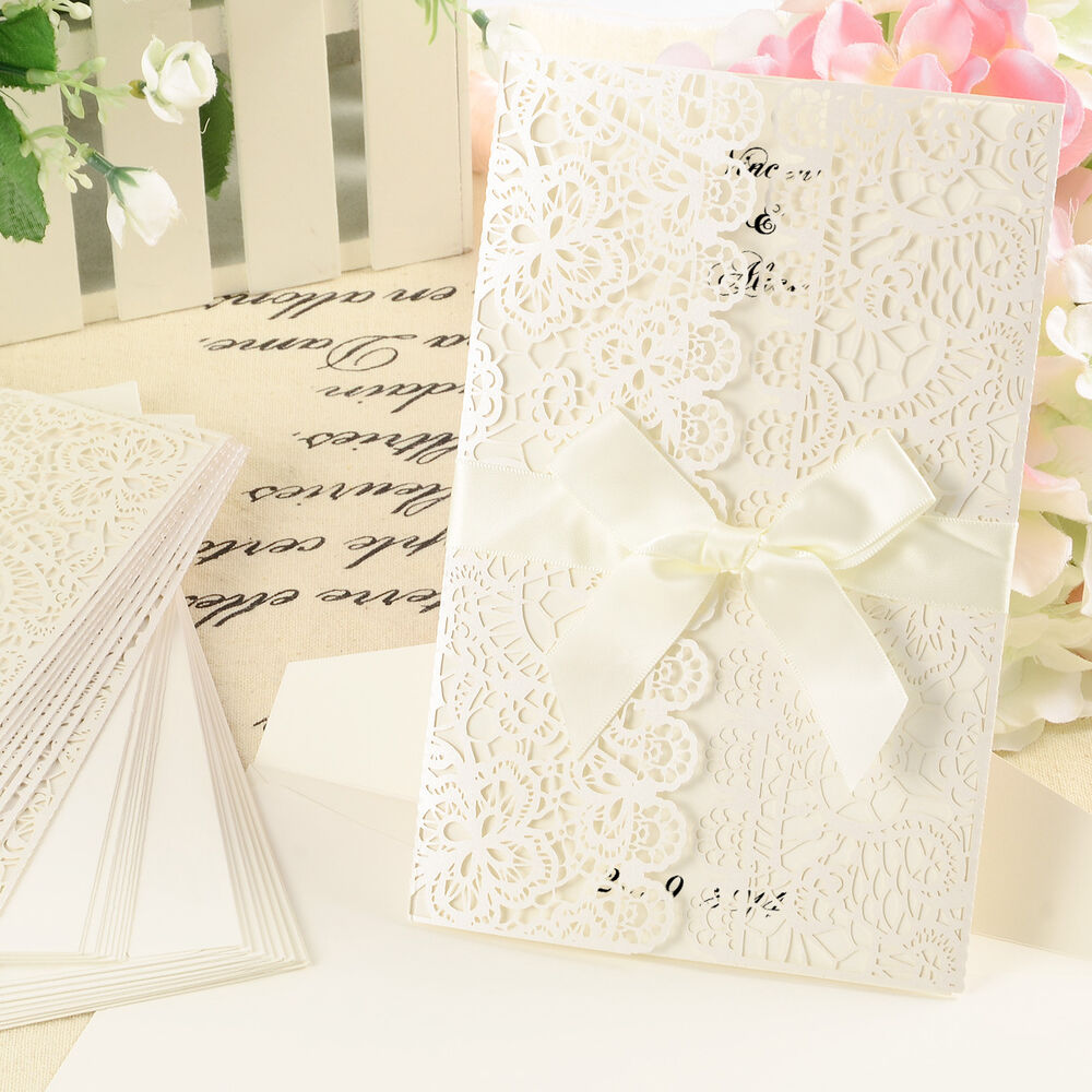Wedding Invitations With Lace: Vintage Laser Cut Lace Wedding Invitation Cards Invites