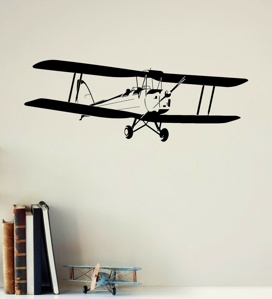 Wall decal airplane aviation kids boys room decor stickers for Aircraft decoration