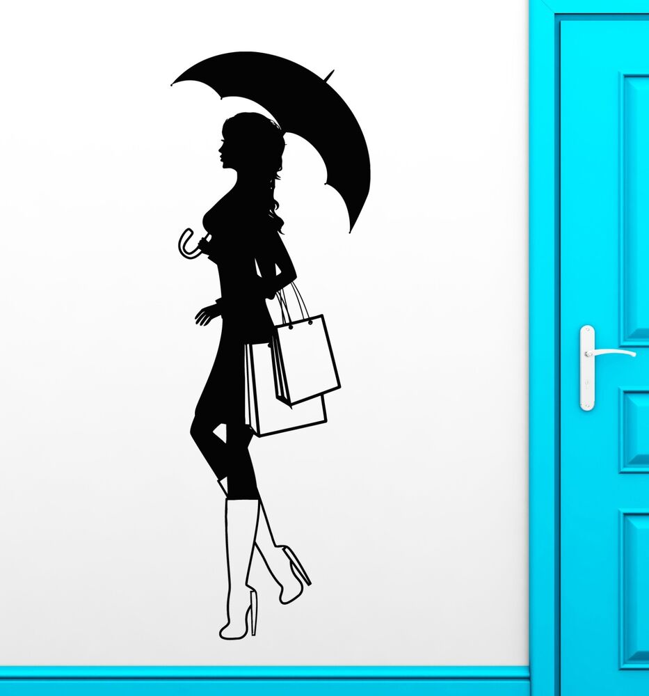 Wall decal silhouette girl shopping fashion style vinyl stickers mural ig2528 ebay - Wall decor stickers online shopping ...
