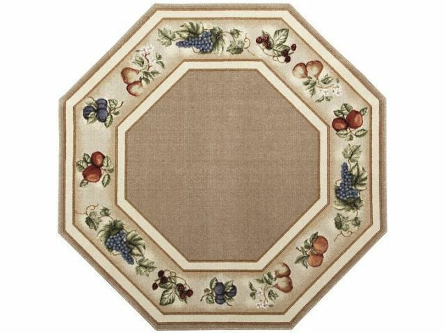 5 Octagon Kitchen Fruits Beige Tan Ivory Area Rug