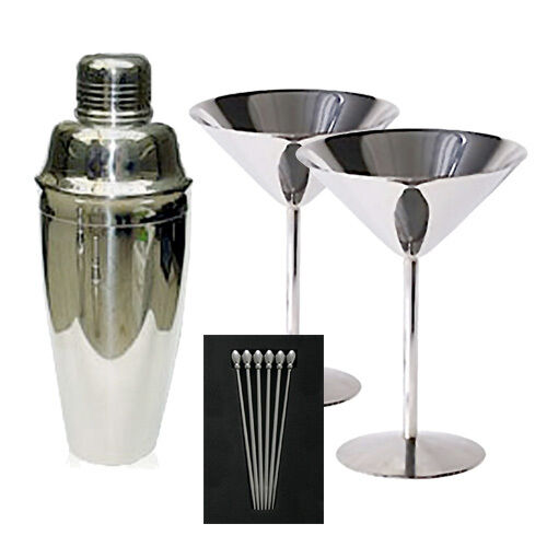 new in gift box stainless steel martini kit set glasses shaker picks ebay. Black Bedroom Furniture Sets. Home Design Ideas