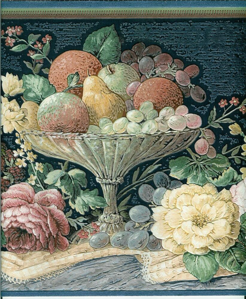 victorian fruit on navy blue textured wallpaper border ebay