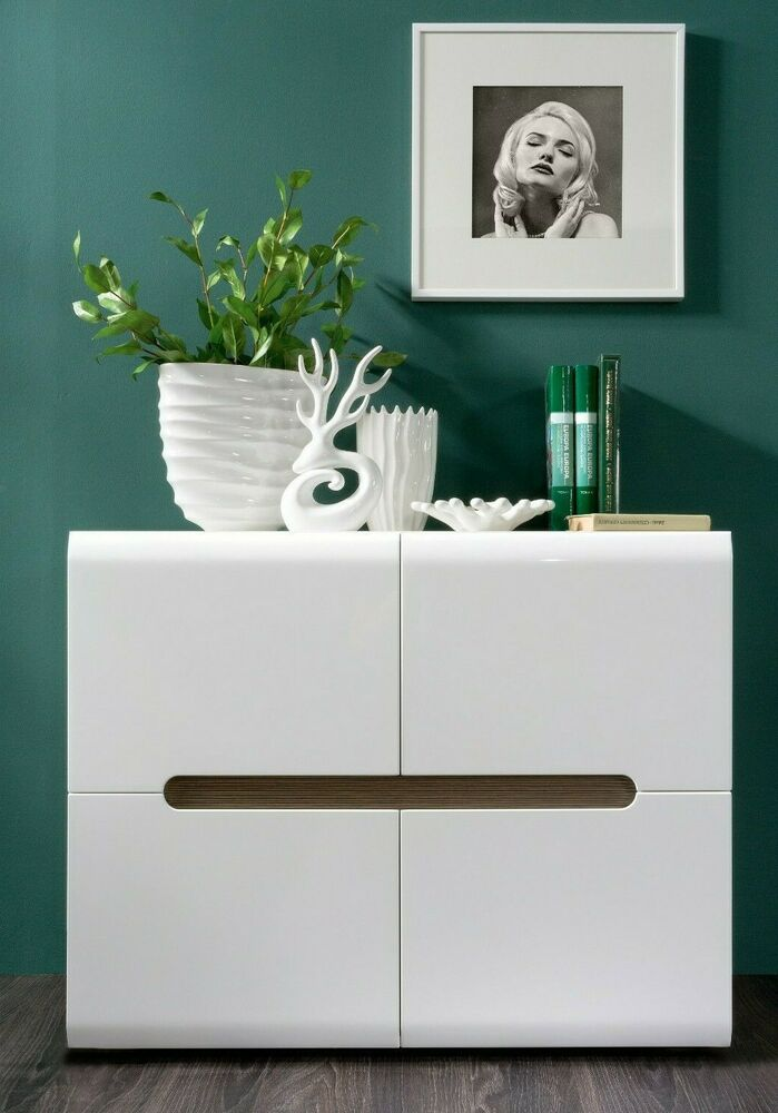 White gloss sideboard dresser buffet 4 door cabinet modern for Living room 4 doors