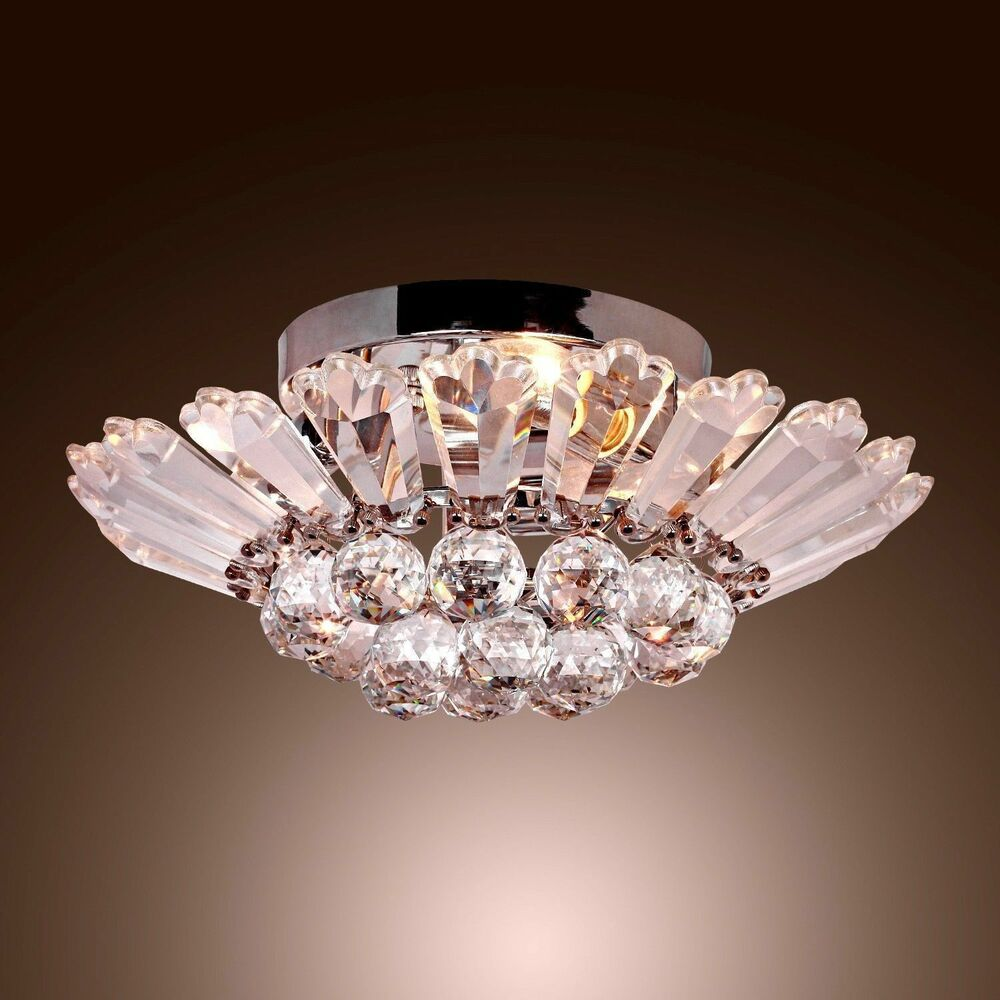 modern contemporary semi flush mount crystal chandelier