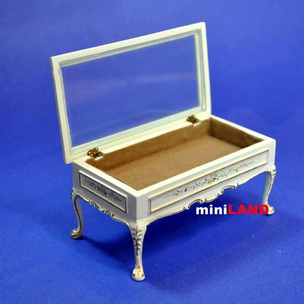 Quality Display Coffee Table For 1 12 Scale Dollhouse Miniature Wood Glass Top Ebay