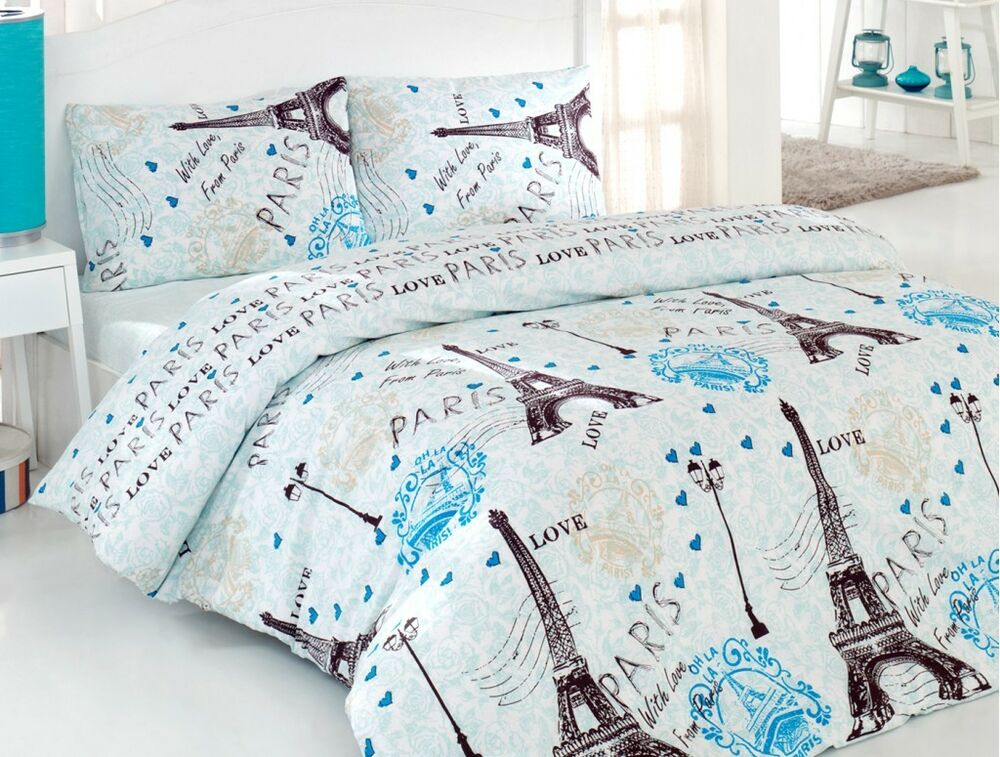 100 cotton 4 pcs turquoise paris eiffel tower queen double bedding duvet cover ebay. Black Bedroom Furniture Sets. Home Design Ideas