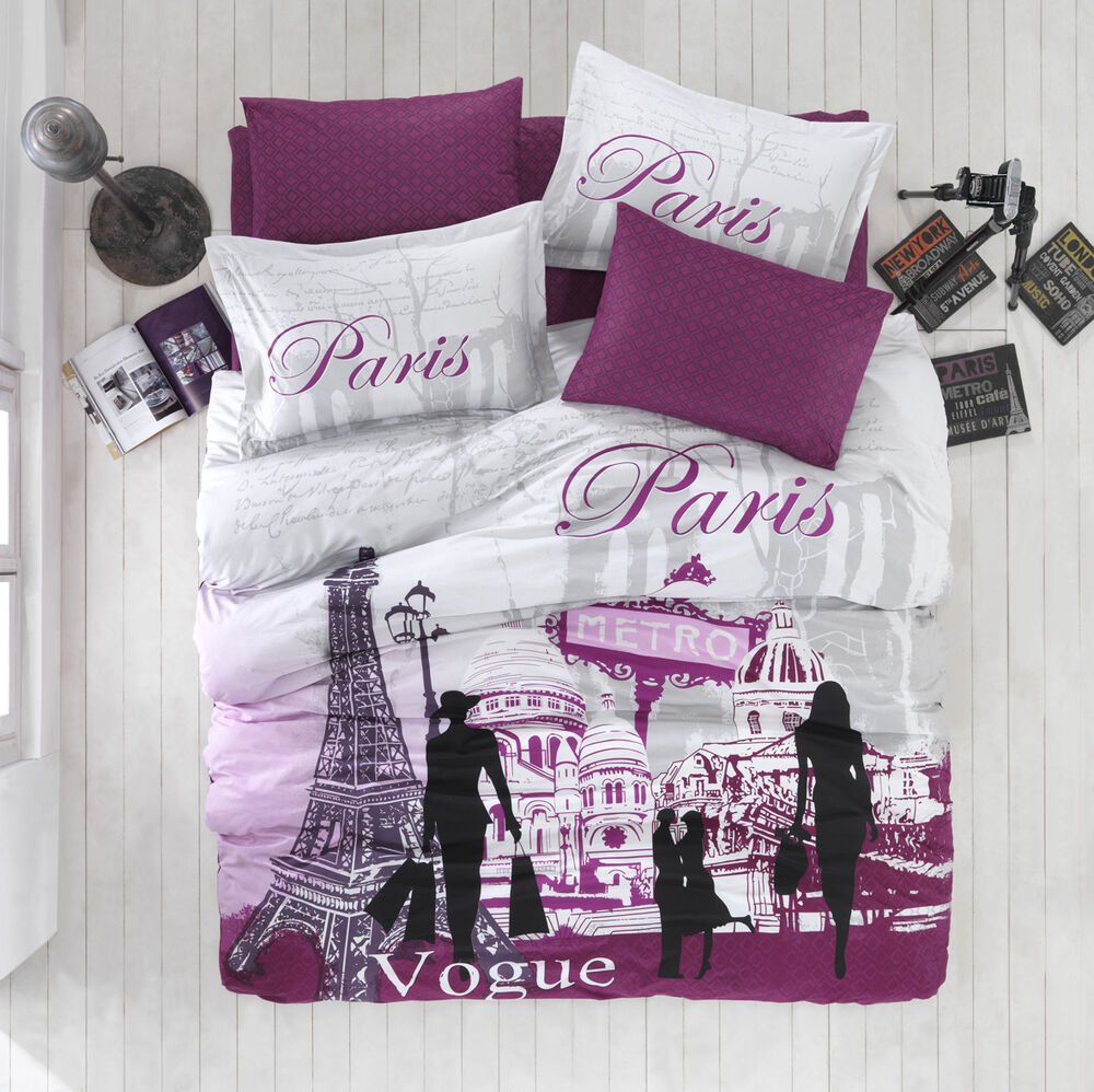 100 cotton high quality 3pcs twin single paris new york bedding duvet cover set ebay. Black Bedroom Furniture Sets. Home Design Ideas