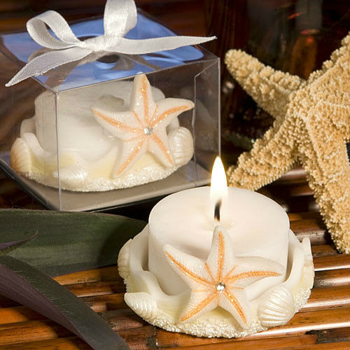 Beach Wedding Favor Ideas: 50 Starfish Design Candle Beach Theme Wedding Bridal