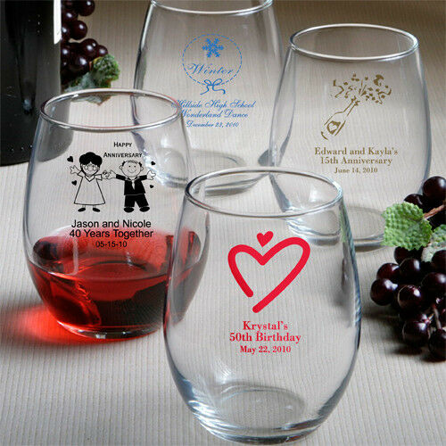 30 Personalized 9 Oz Stemless Wine Glass Wedding Party