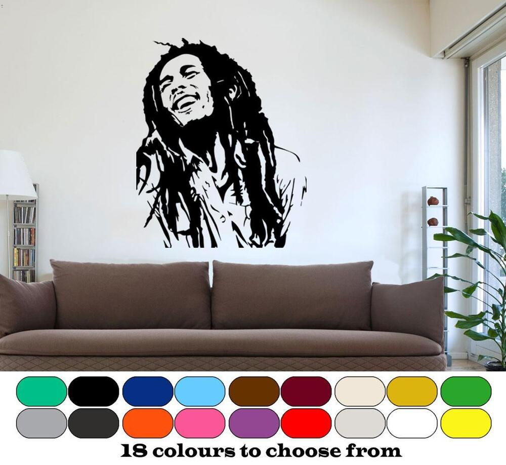 Bob marley wall art graphic vinyl mural sticker for Mural art designs for bedroom