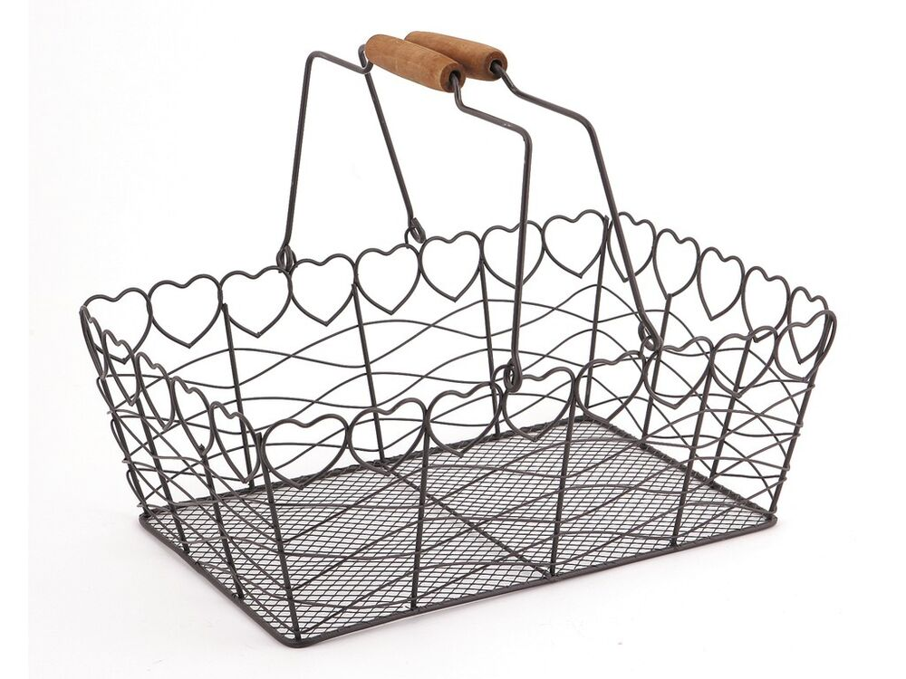 heart wire metal basket vintage grey kitchen garden shabby. Black Bedroom Furniture Sets. Home Design Ideas
