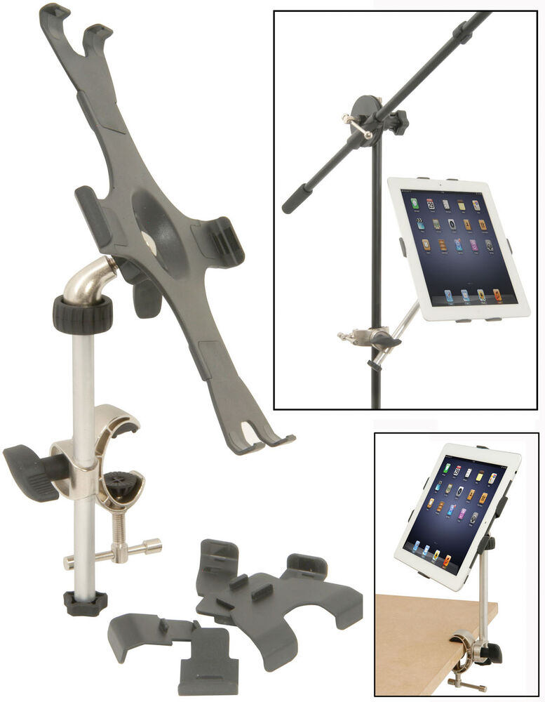 music microphone desk stand ipad tablet holder clamp for ipad 2 3 4 free p p ebay. Black Bedroom Furniture Sets. Home Design Ideas