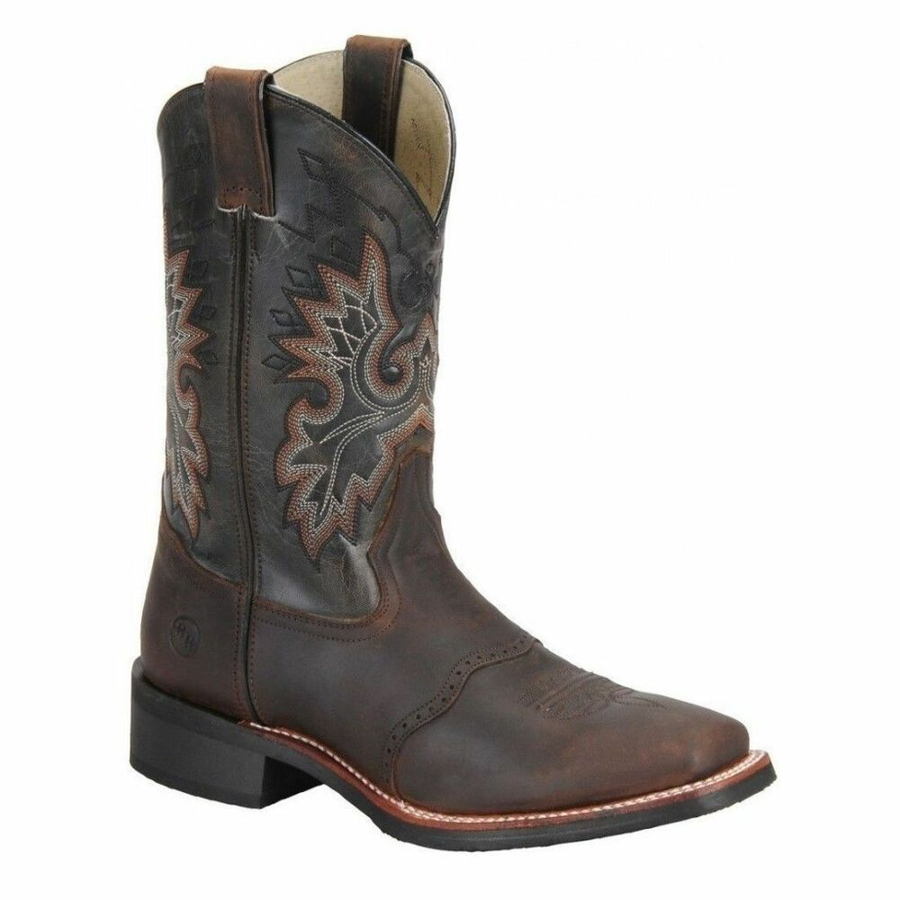 Double H Mens Tan Crazy Horse Leather Square Toe Roper