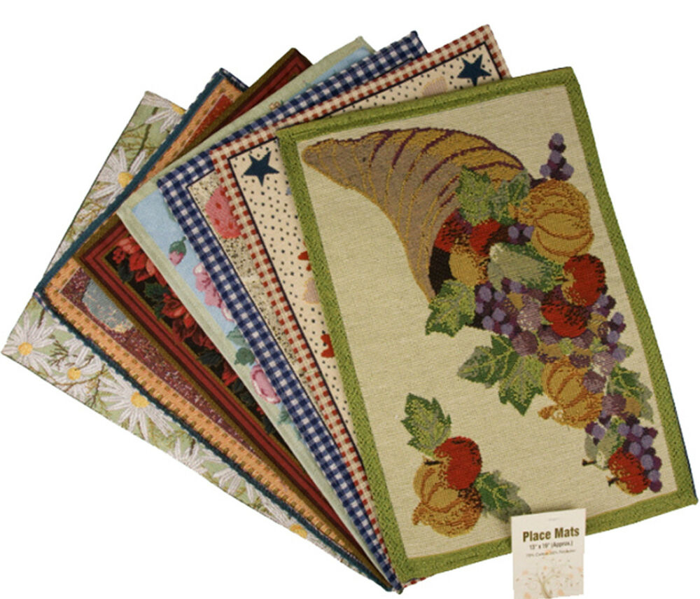 Fabric Placemat Washable Table Mats Assorted Designs Good