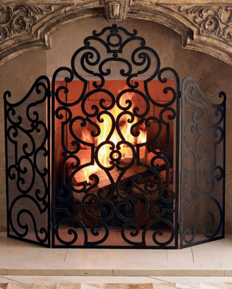 Neiman Marcus Iron Firescreen Fireplace Screen Dark Antique Brown Finish Gold Ebay