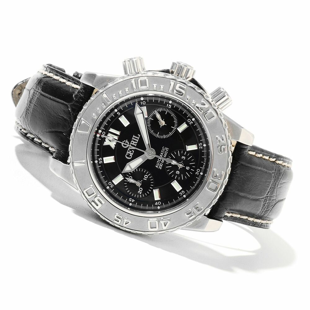 Gevril men 39 s 3103l sea cloud swiss automatic chronograph genuine leather watch ebay for Gevril watches