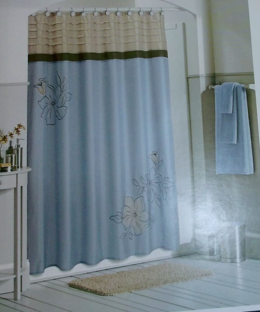 Croft barrow embroidered fabric shower curtain size quot x