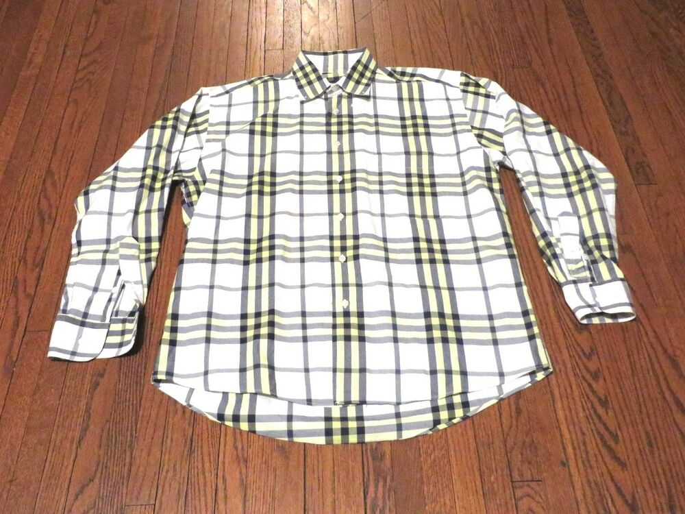 Men 39 s burberry london white yellow navy plaid button down for Mens big and tall burberry shirts