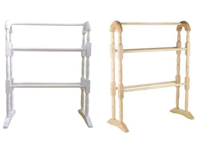 Wooden Free Standing Towel Rail Stand Storage Holder Rack