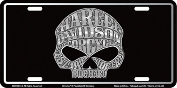 Harley davidson willie g skull tattoo embossed metal car for Embossed tattoo designs