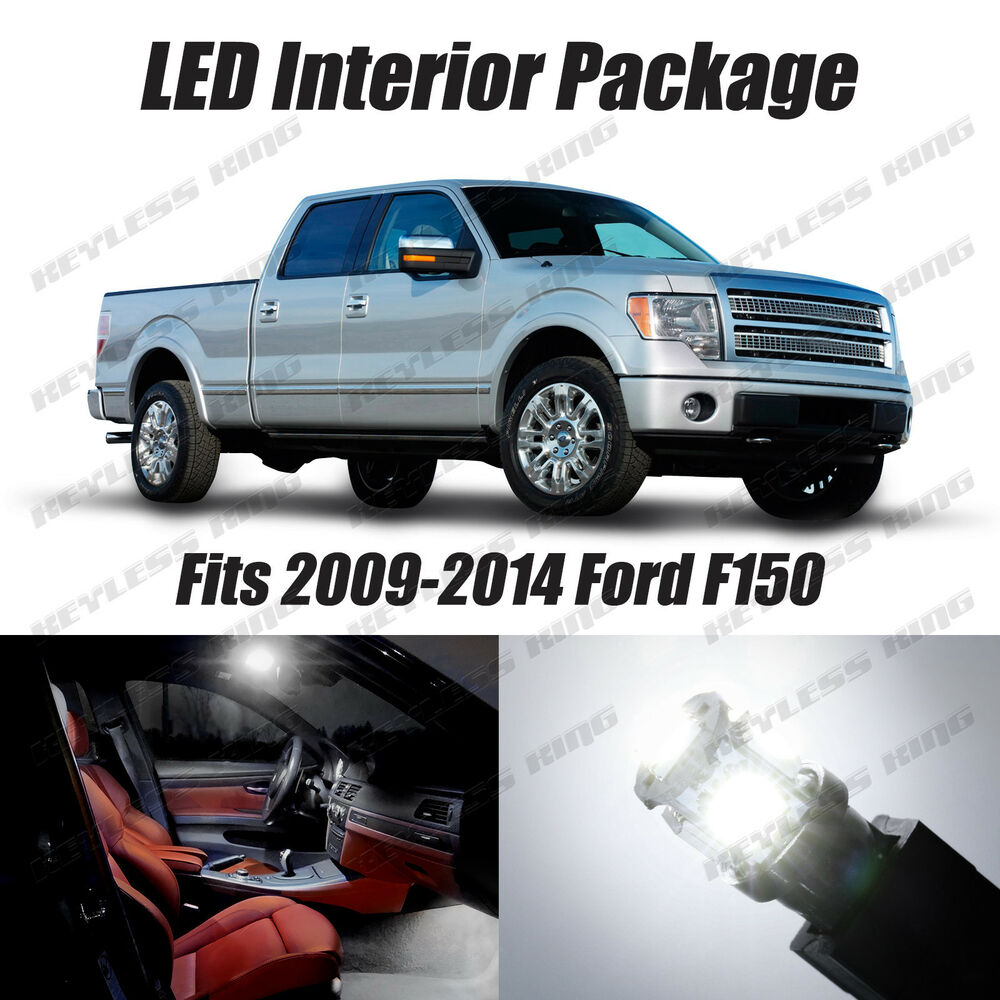 11pcs Led White Lights Interior License Package Kit For Ford F150 2009 2014 Ebay