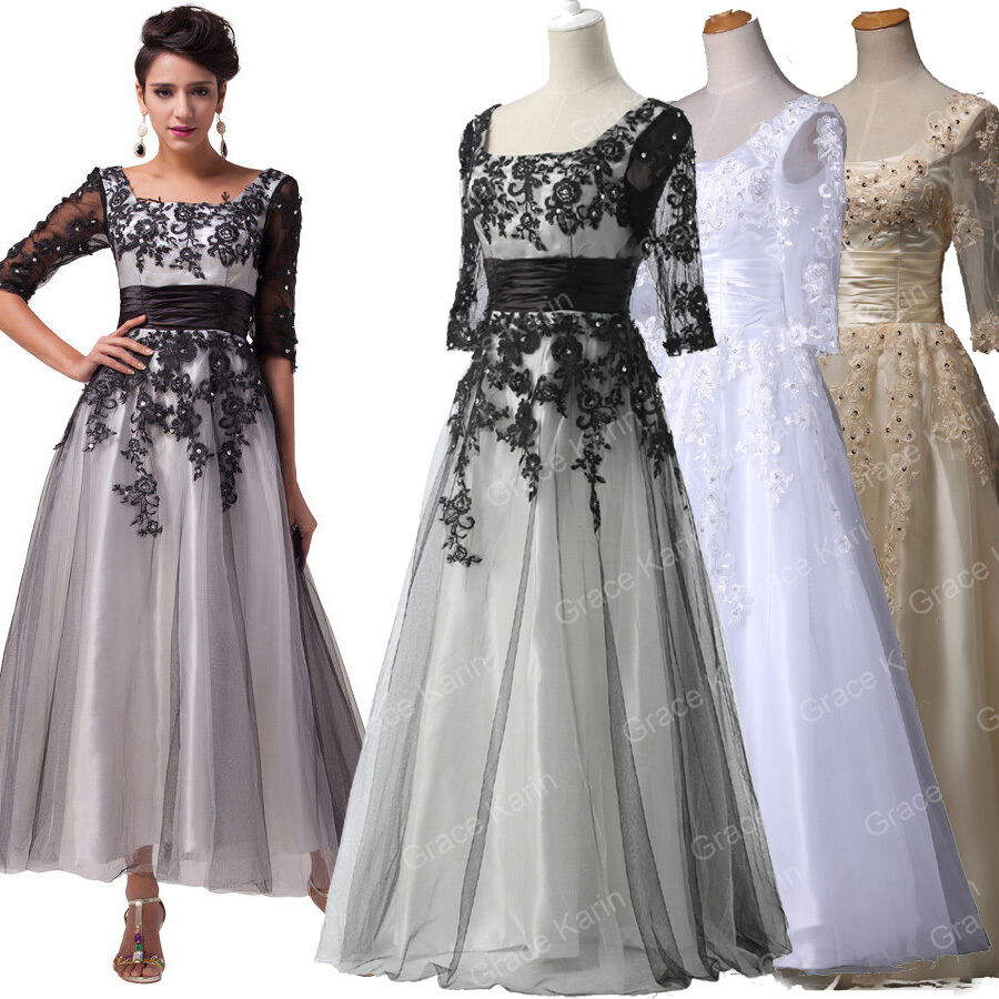 2016 tea length vintage mother bride party prom evening for Formal long dresses for weddings