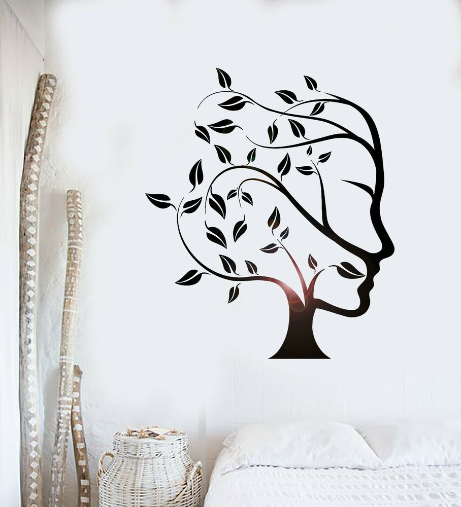 Wall Decal Tree Nature Abstract Woman Face Vinyl Stickers