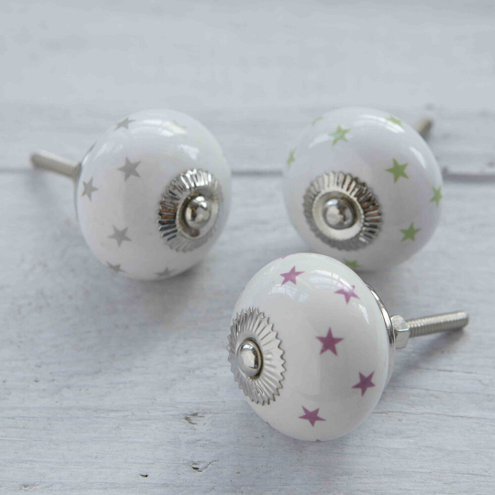 Colourful ceramic stars pink green silver cabinet cupboard for Door knobs ebay