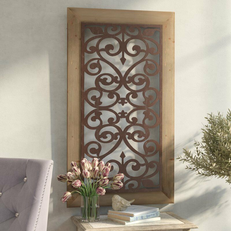 Tin Wall Decor Vintage : Large metal wood wall panel antique vintage rustic chic