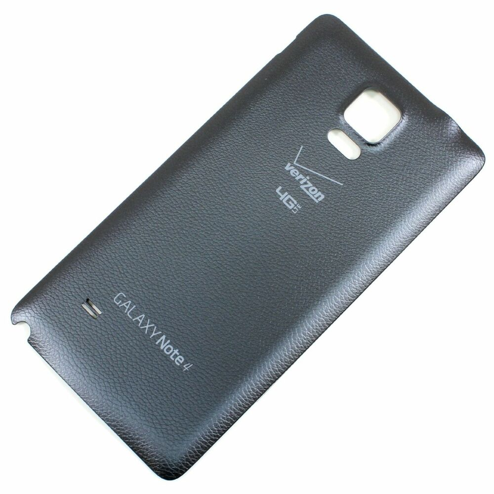 samsung galaxy note 4 verizon n910v back cover battery door black replacement ebay. Black Bedroom Furniture Sets. Home Design Ideas