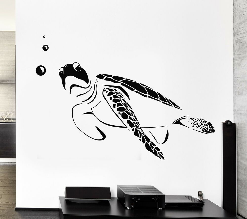 Wall decal turtle marine ocean bathroom decor vinyl for Decoration autocollant mural