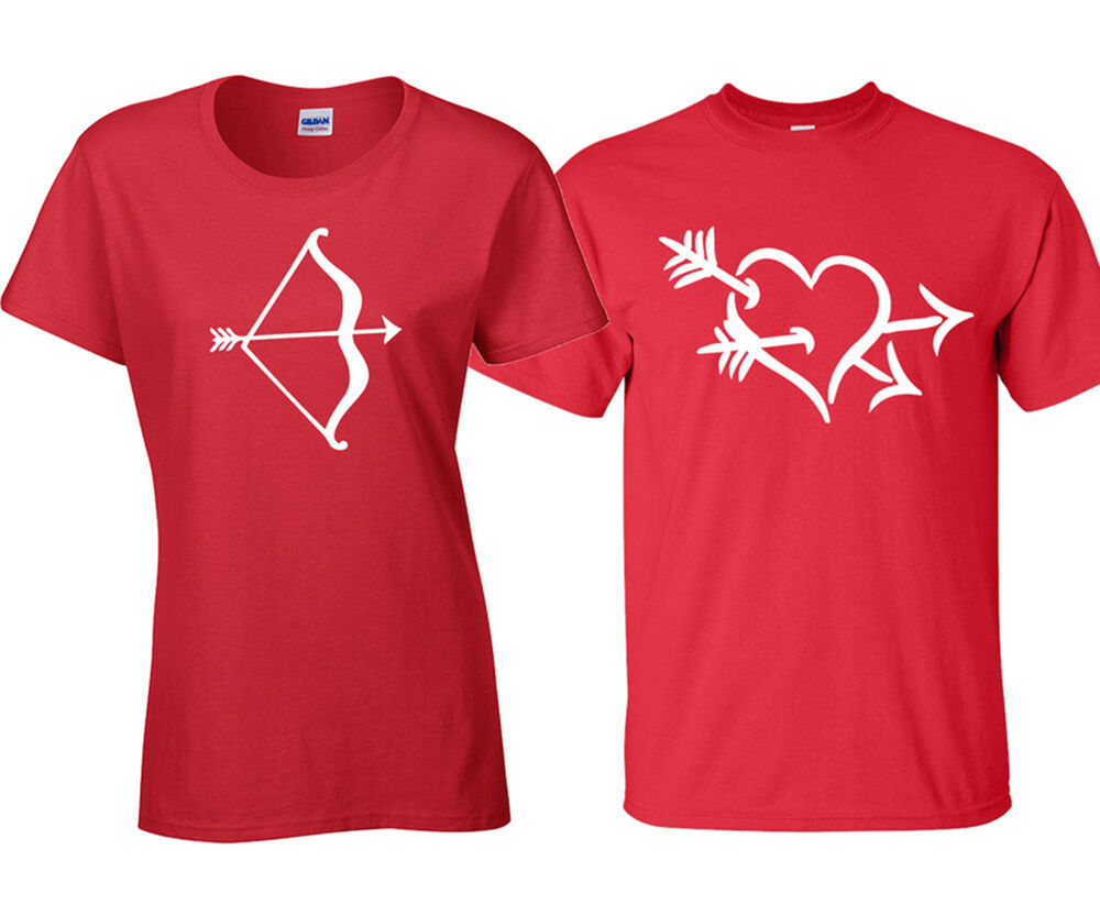 Couple Matching LOVE STRUCK Bow Arrow Heart VALENTINE DAY ...