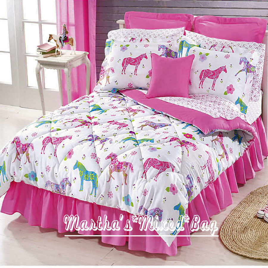 Pink western pony horse girl equine bedding comforter set - Bedroom sheets and comforter sets ...