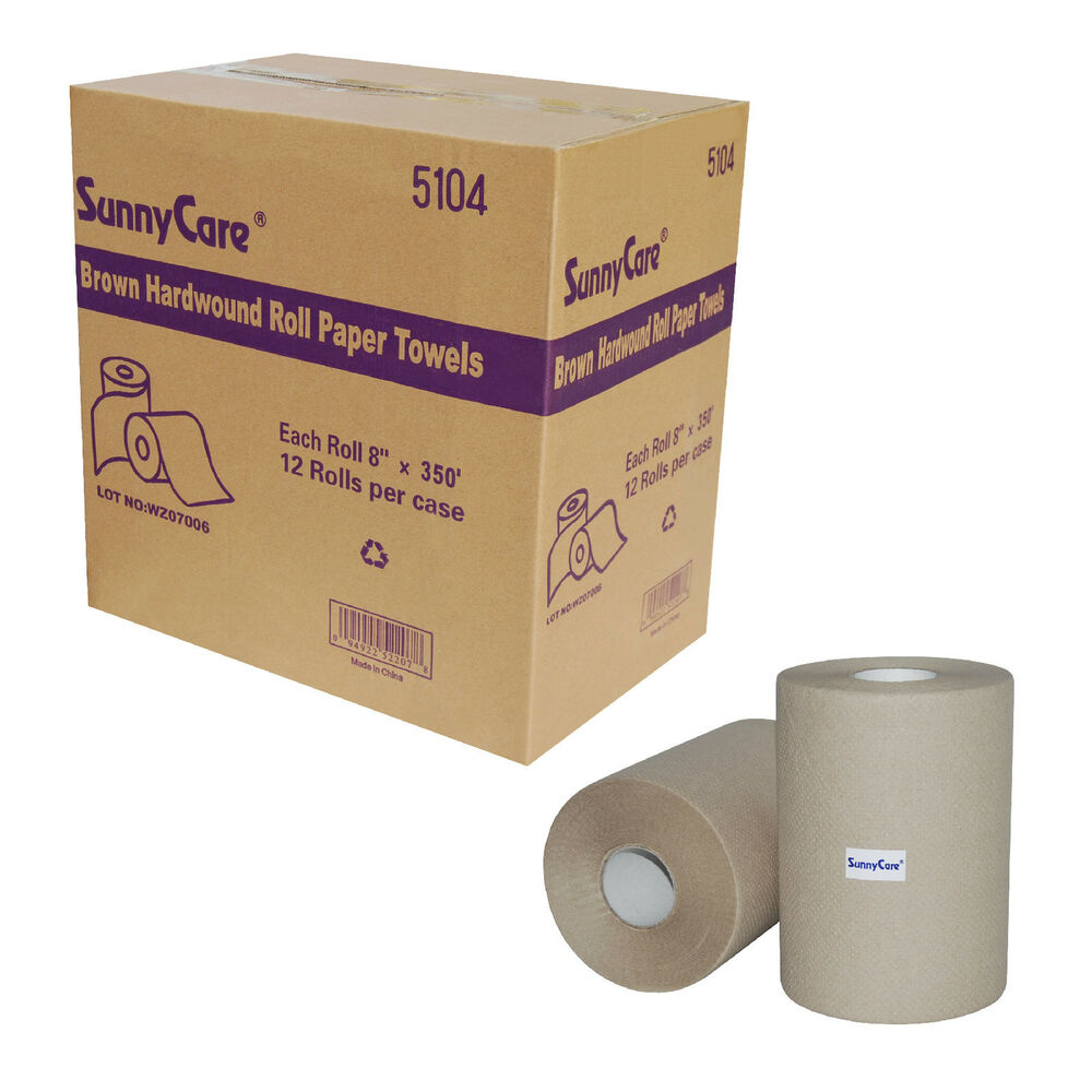 "Paper Towel Rolls For Hamsters: 12 Rolls Hard Wound Paper Roll Towels, 8"" X 350`,Brown, 12"
